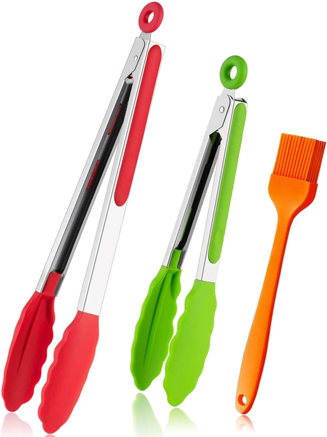 Silicone Kitchen Tongs for Cooking BBQ Tong Non Stick with Silicone Tips 12inch 7inch Set of 2 Premium Kitchen Utensils for Grilling Meat Baking