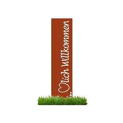 9bb4aa6943a70a prima terra  quot Herzlich Willkommen Gartenstele Edelrost Stele Dekoration  Gartendekoration Deko Garten H 120cm