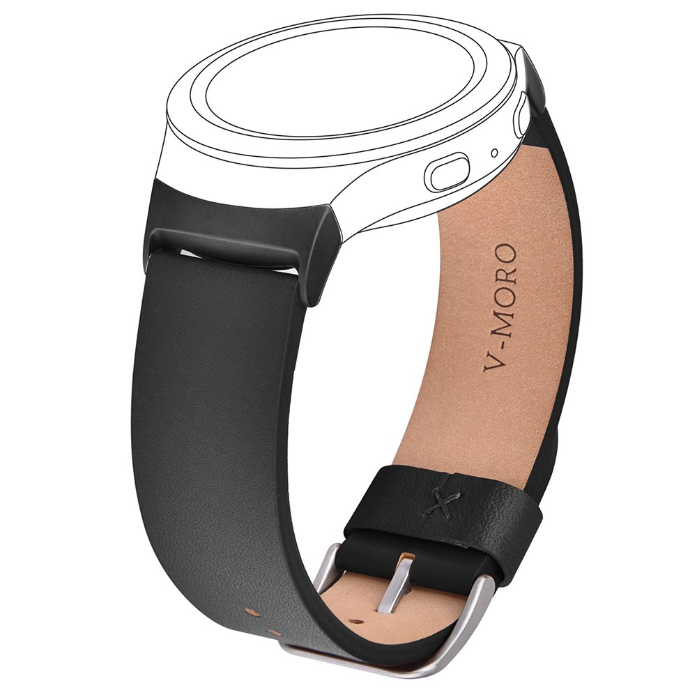 Gear S2 Band - V-Moro Soft Leather Strap Replacement Band with Stainless Metal Adapters for Samsung Gear S2 SM-R720/SM-R730 Sports Smartwatch 6.7''-8.2'' Black