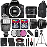 Canon EOS Rebel T6i DSLR Camera + Canon 50mm 1.8 STM Lens + Flash + 64GB Storage + 0.43X Wide Angle Lens + 2.2x Telephoto Lens + UV-CPL-FLD Filters + Remote - International Version