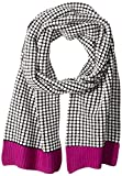 Sofia Cashmere Women's Two Color Thermal Scarf with Contrast Trim, Pink Combo, One Size