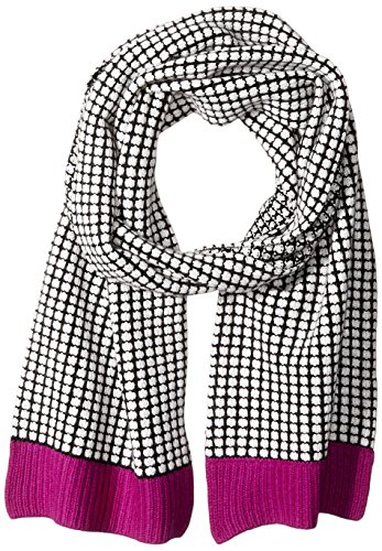 Sofia Cashmere Women's Two Color Thermal Scarf with Contrast Trim, Pink Combo, One Size by Sofia Cashmere