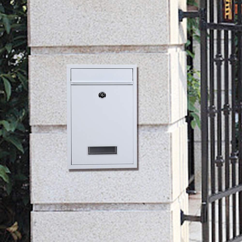 de Hierro con Cerradura de Seguridad para la Oficina en casa Color Negro Buz/ón de Correo con Cerradura EBTOOLS para Pared Resistente a la Intemperie