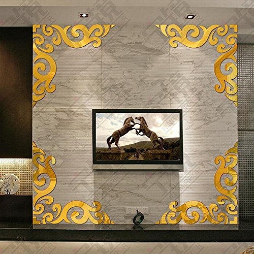Diagonal Corner Line Acrylic Mirror Wall Stickers, Oksale® 11.8 × 11.8 Inch, Background Acrylic Bedroom Living Room Home Art Removable Applique Papers Mural Decor Decal (Gold)