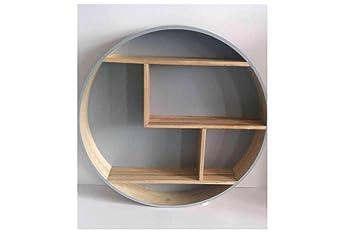 Étagère murale ronde en bois etagere scandinave etagere ronde (gris ...