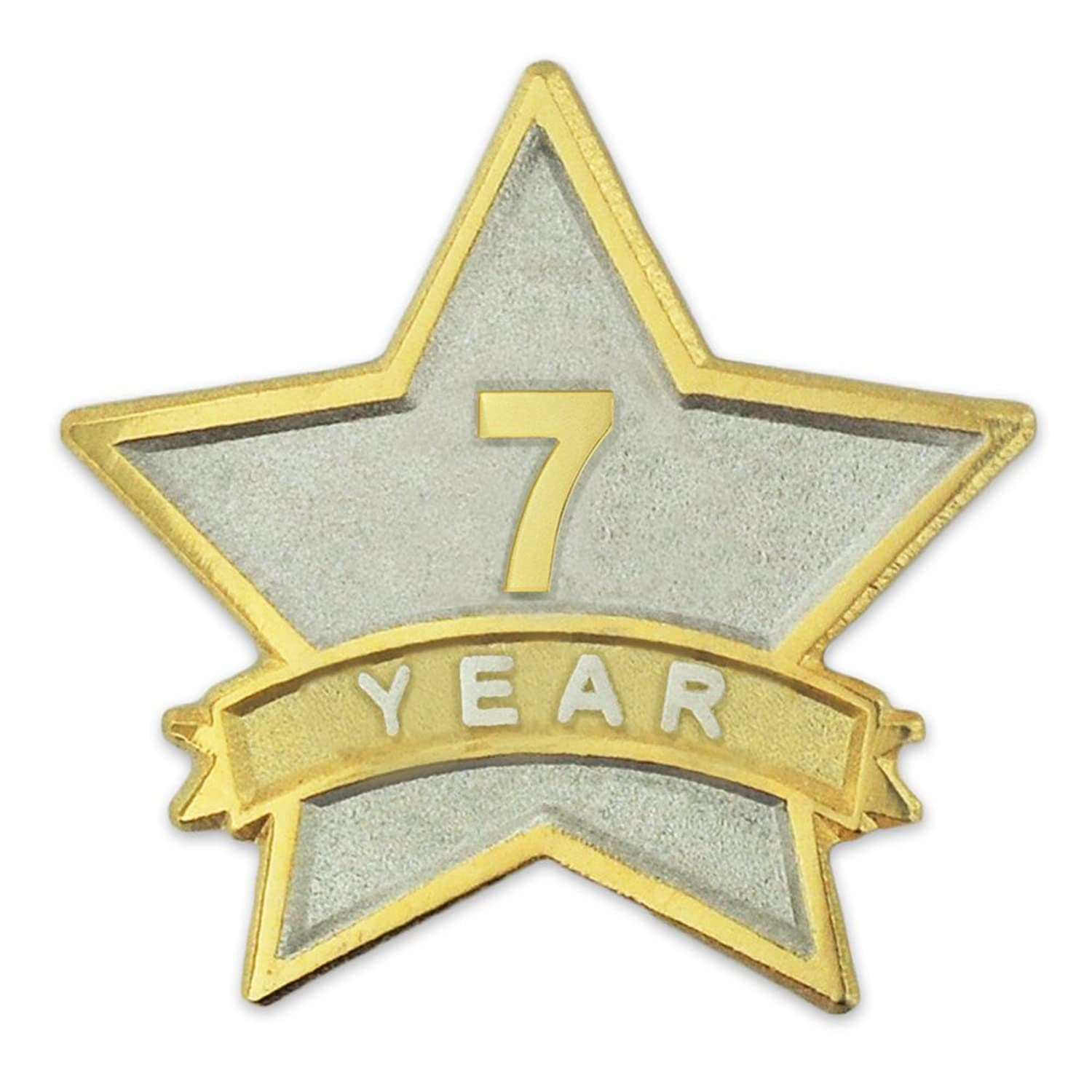 PinMart's 7 Year Service Award Star Corporate Recognition Dual Plated Lapel Pin