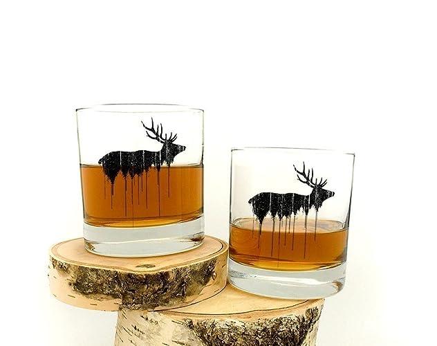 a0db8739525 Amazon.com  Elk Above Tree Line Rock Glasses - Set of Two 11oz ...