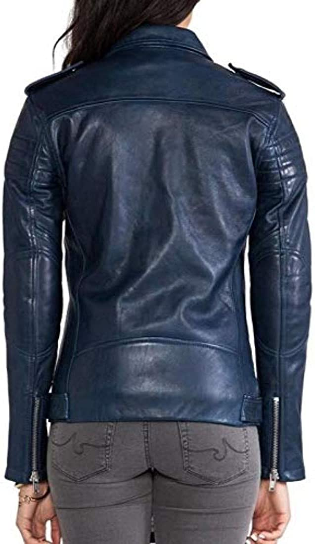 Zafy Leather Womens Leather Jackets Navy Blue M93/_