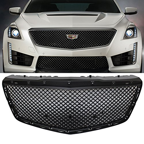 Grille Fits 2014-2016 Cadillac CTS | Bentley Style ABS Plastic Black Front Bumper Grill Hood Mesh by IKON MOTORSPORTS | 2015