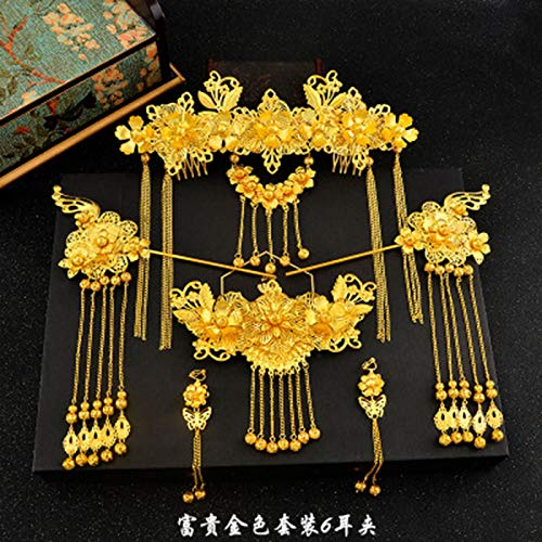 - Traditional Chinese Hair Accessories Style Vintage Chinese Headdress Headpiece Gold Chinese Hair Jewellery Bridal Crown Ornament E