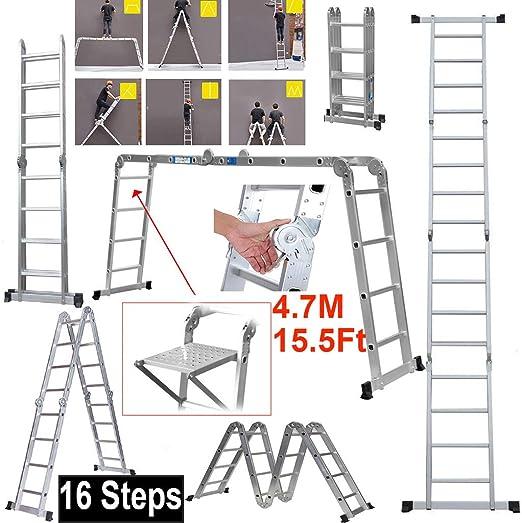 ZhanGe - Escalera para decoración (4,7 m, Multiusos, Plegable, con Bandeja de construcción Resistente, 150 kg de Capacidad de Carga, certificación EN131): Amazon.es: Juguetes y juegos
