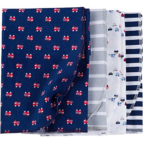 Gerber Baby Boys 4 Pack Flannel Receiving Blanket, Firetrucks, One Size
