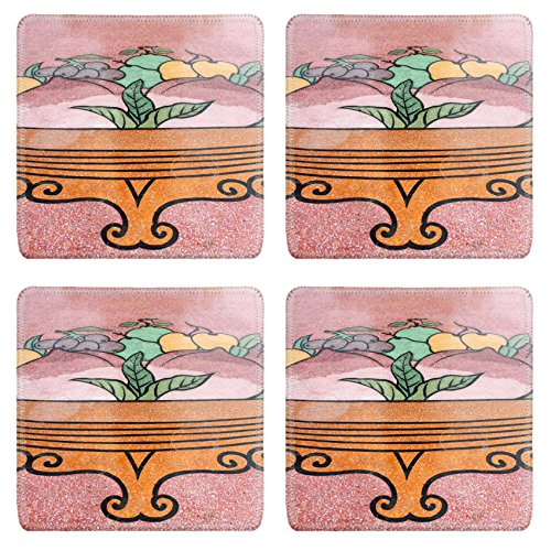 Luxlady Natural Rubber Square Coasters IMAGE ID: 23653954 Chinese style painting on wall of shrine in Thailand Generality in Thailand any kind of art decorated in Buddhist church or shrine etc created