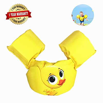 Swim Arm Bands Trainer Float Foam Vest Learn Swimming Assistance Independence Fun Aid Water Pool Beach (Yellow Duck): Toys & Games