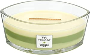 WoodWick Trilogy Garden Oasis, 3-in-1 Highly Scented Candle, Ellipse Glass Jar with Original HearthWick Flame, Large 7-inch, 16 oz