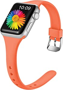 Getino Slim Band Compatible with Apple Watch 40mm 38mm iWatch SE & Series 6 & Series 5 4 3 2 1 for Women Men, Coral, S/M