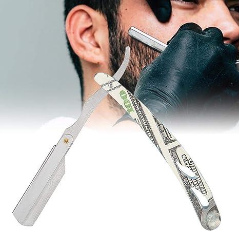 Maquinilla de afeitar de seguridad, soporte para máquina de afeitar recta portátil, afeitadora de acero inoxidable de doble filo para hombres, plateado: Amazon.es ...