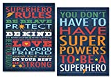 Gango Home Decor Superhero Rules Set by Stephanie Marrott; Two 12''x16'' Poster Prints