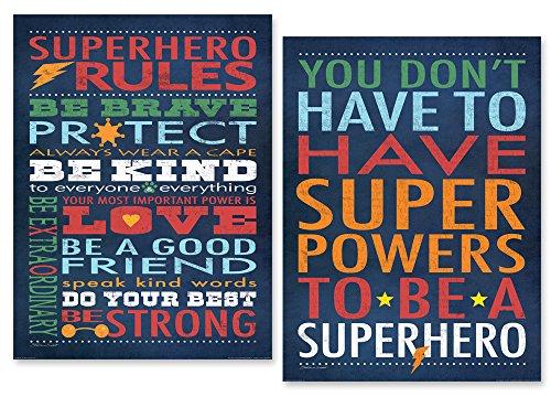 Gango Home Decor Superhero Rules Set by Stephanie Marrott; Two 12''x16'' Poster Prints by Gango Home Decor (Image #1)