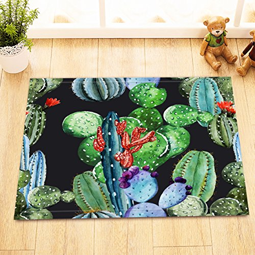 Mexican Prickly Pear (LB Cactus Watercolor Prickly Pear Print Bath Rugs for Bedroom Bathroom, Flannel Surface Non Slip Backing, Cactus Flower Fruit Succulent Mexican Desert Plant 15 x 23 Inches, Green)