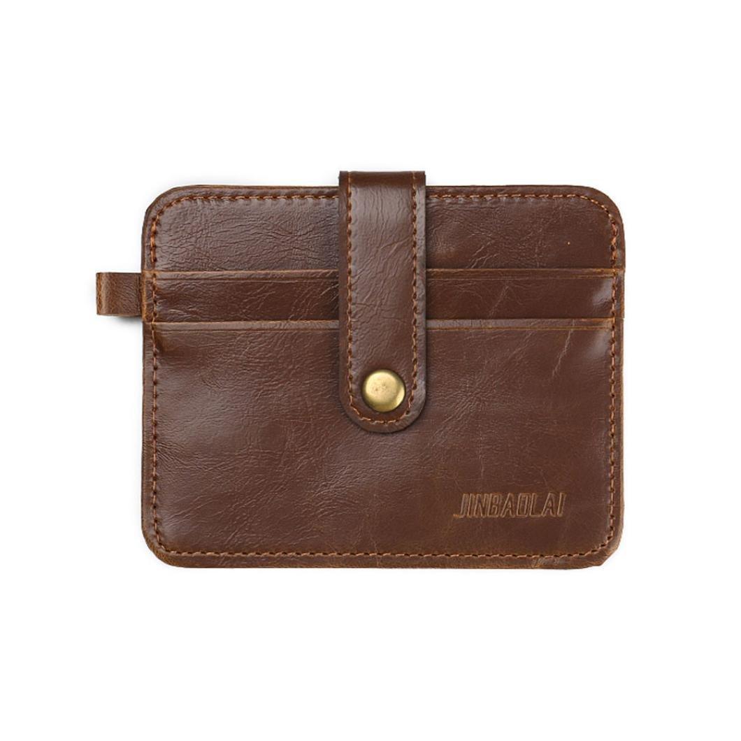 Pocciol Luxury Men Vintage Money Clip Genuine Leather Wallet Coin Pocket Retro Purse Craftsmanship (Brown)
