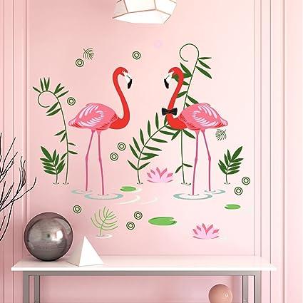 Amazon.com: Dktie Flamingos Wall Art Decal Removable Stickers Peel ...