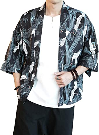 ZhuiKunA Hombres Camisa Japonés Cardigan Yukata Estilo Kimono ...