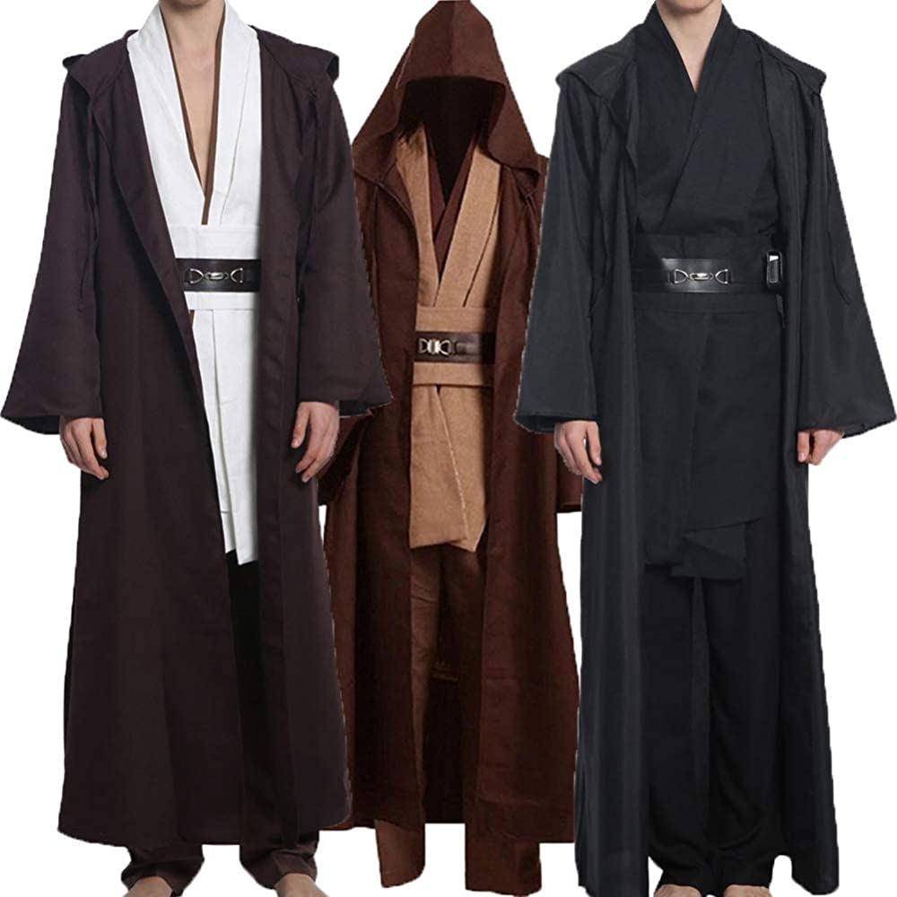 US Size Fancycosplay Jedi Robe Cosplay Costume Set Men Halloween Outfit Brown White with Belt and Pocket Full Suit