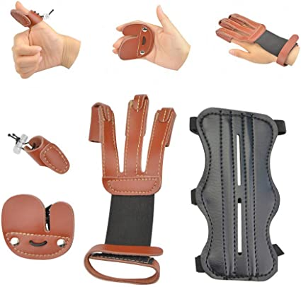 Archery 3 Straps Arm Guards Hunting Protector Finger Guard Glove Black HY