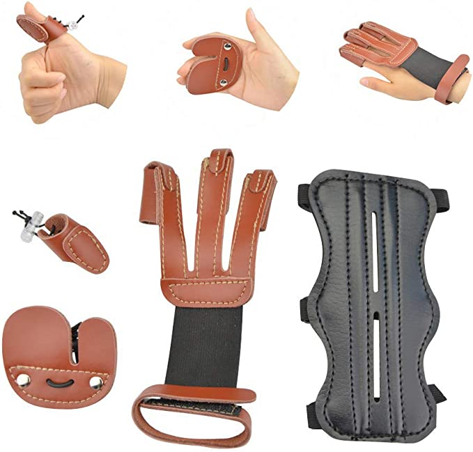 Demason 4 Pcs Archery Finger Protectors Archery Shooting Equipment Rubber Silicone Finger Bow String Protect Finger Guards with Installing Tool