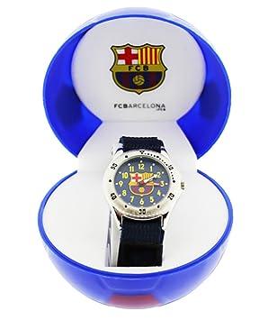 ffb965acd443 FC Barcelona - Reloj analógico infantil con fondo azul