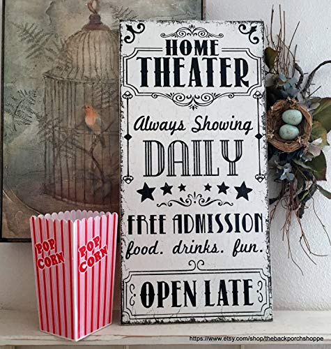 Olga212Patrick HOME THEATER Sign Movie Night Sign Family Signs Family Theater Sign 12 x -