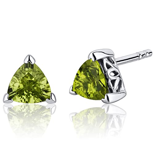 1.50 Carats Peridot Trillion Cut V Prong Stud Earrings in Sterling Silver Rhodium Nickel Finish
