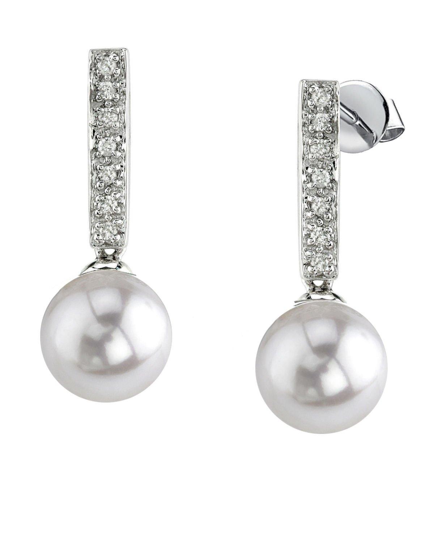 14K Gold White Akoya Cultured Pearl Dangling Diamond Earrings
