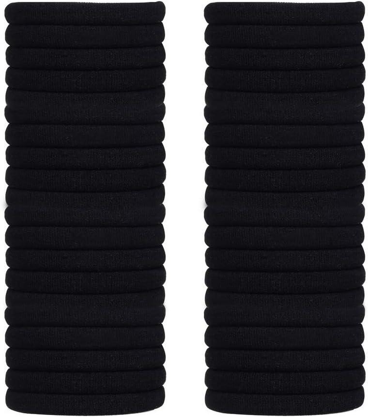 Pengxiaomei 40 bandas de pelo negro, 10 mm de grosor, bandas elásticas para el pelo de cola de caballo, accesorios para mujeres y niñas