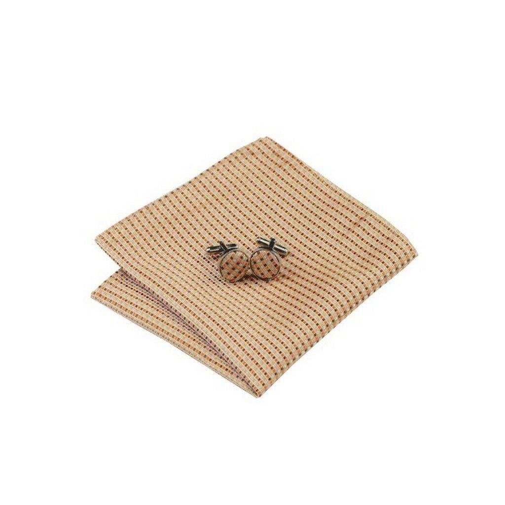 Mens Jacquard Woven Silk Orange Khaki Striped Tie Hanky Cufflinks Sets