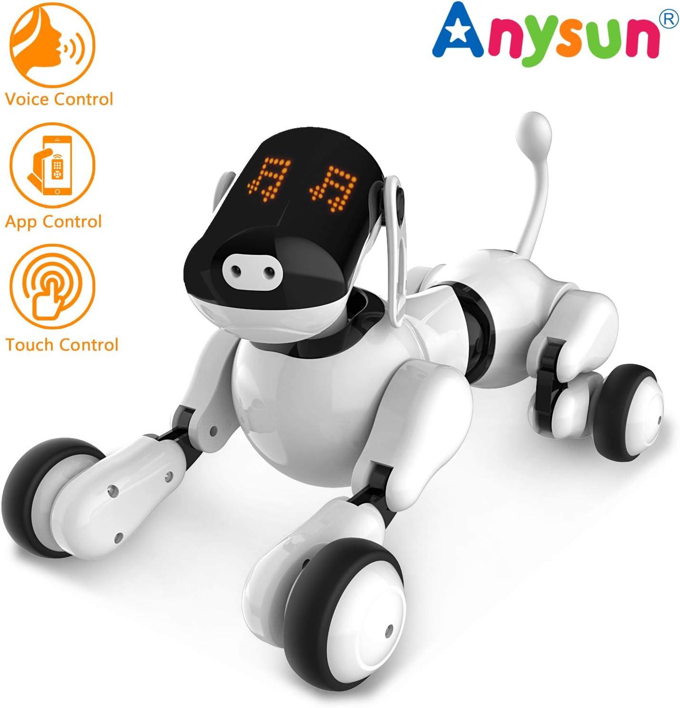 Inteligente Robot Perro Juguete, Juguetes de Cachorro de Robot Recargables Programables Inteligentes Interactivos Mascotas Electronicas Voz App Toque Control con Altavoz Bluetooth para Niños Niñas