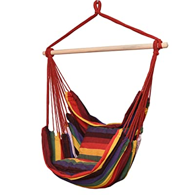 TOUCAN OUTDOOR Hanging Rope Chair, Hammock Swing Chair with Pillow Set, Rainbow: Garden & Outdoor