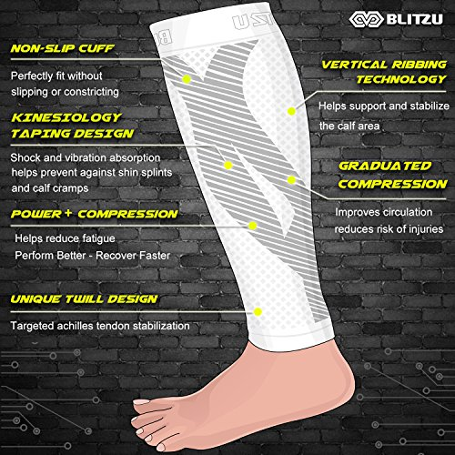 BLITZU Calf Compression Sleeve Socks One Pair Leg Performance Support for Shin Splint & Calf Pain Relief. Men Women Runners Sleeves for Running. Improves Circulation and Recovery White S/M by BLITZU (Image #3)