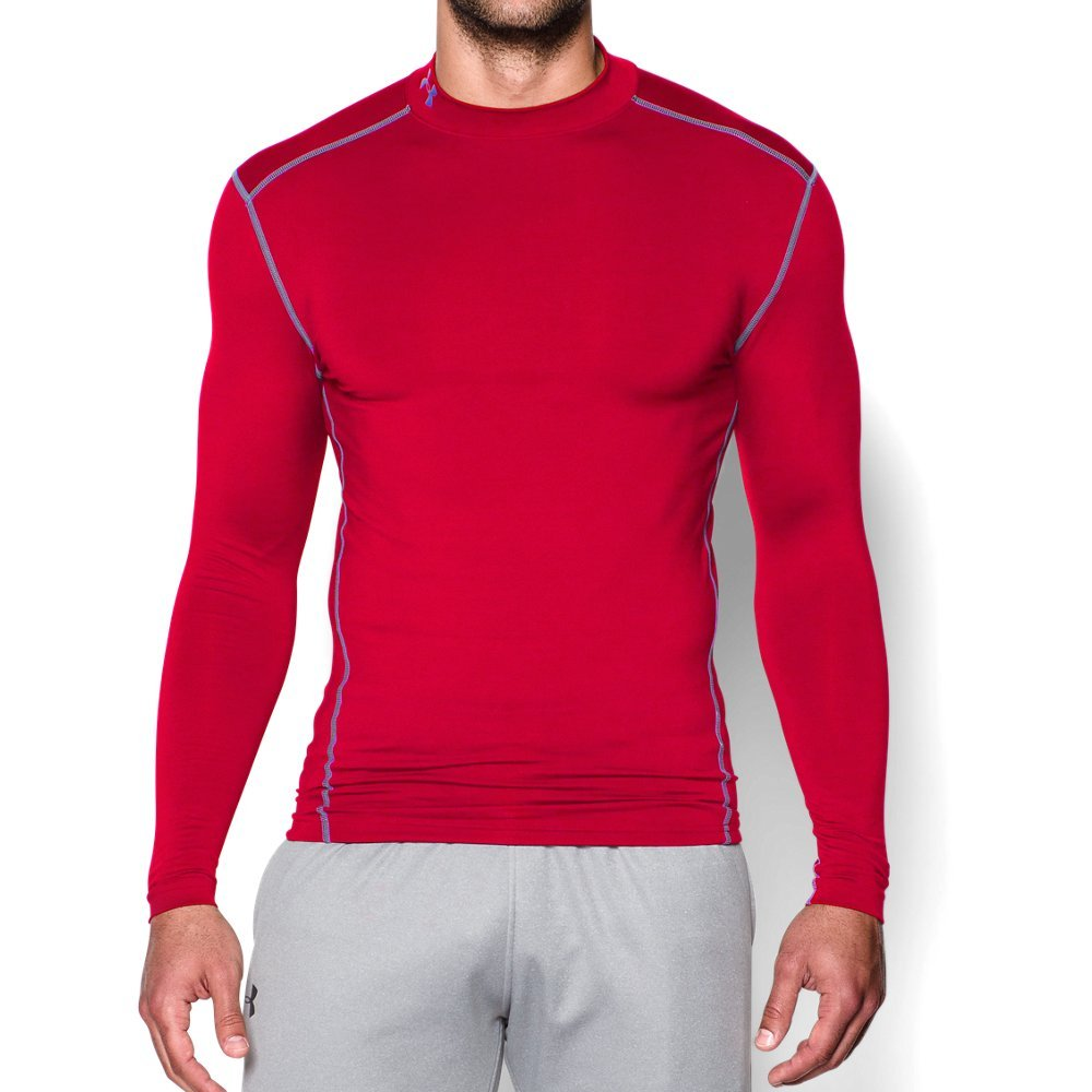 Under Armour Men's ColdGear Armour Compression Mock Long Sleeve Shirt, Red /Steel, Small