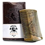 Beard Comb Kit for Men - Great for Head Hair, Beard & Mustache - Handmade Premium Sandal Wood - Fine Dual Action Teeth - Comes with Gift Hunter Jack PU Leather Case - Free eBook