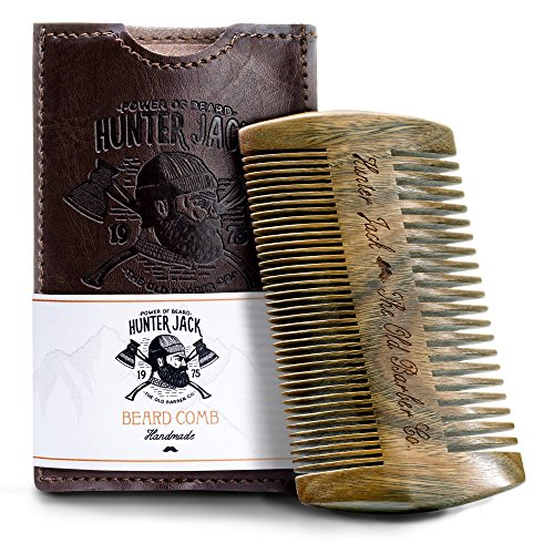 "Beard Comb Kit for Men – Great for Head Hair, Beard & Mustache – Handmade Premium Sandal Wood – Fine Dual Action Teeth – Comes with Gift ""Hunter Jack"" PU Leather Case – Free eBook"