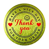 "Thank You for Your Order Purchase Have a Nice Day Stickers 1.5"" (Pack of 500) Round Gold Foil Circle Bakery Labels Tags Red Heart Smile Sign Self Adhesive Decorative Sealing Packaging"