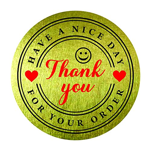 "1000 Labels per 1.25/"" Round Gold Foil Thank You for Your Purchase Stickers"