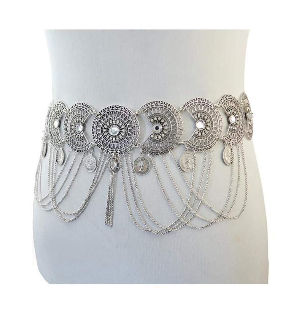 Quaappaa Vintage Waist Chain Hollow Carving Rhinestone Crystal Body Chain Summer Beach Body Waist Chain Jewelry (Silver)