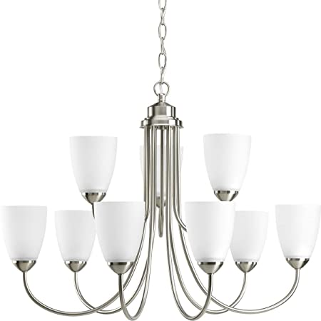 Progress Lighting P4627-09 Gather Collection 9-Light Chandelier, Brushed Nickel