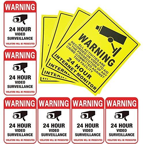 Pack de 10 pegatinas de vigilancia de vídeo de 24 horas, para el hogar, la cámara de negocios, el sistema de alarma, para...