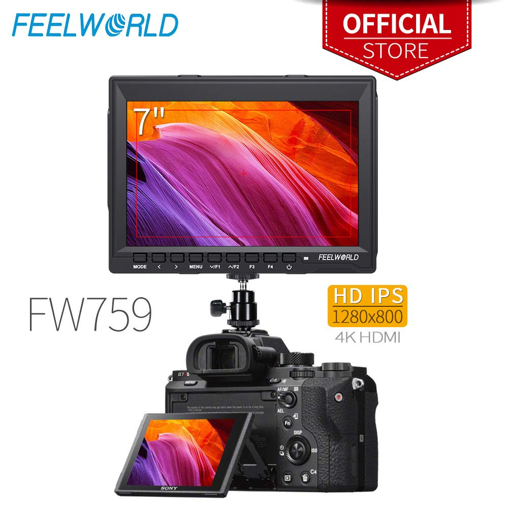 0119e726e3 Feelworld FW759 7 Pollici On Camera DSLR Monitor Field Full HD Focus Video  Assist 1280x800 IPS con 4K HDMI Input Output