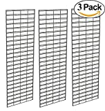 Slat Grid Panel for Display – Perfect Econoco Metal Slat Grid for Any Retail Display, 2' Width x 6' Height, 3 Grids Per Carton (Black)