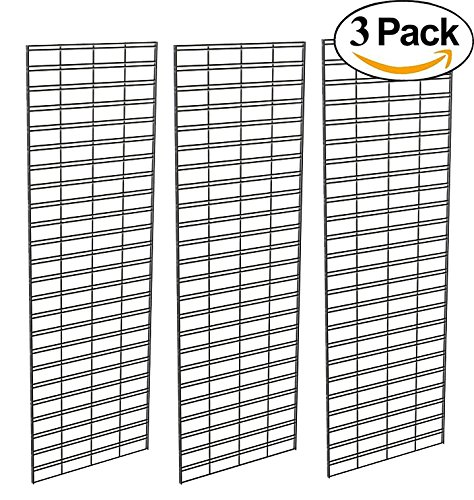 Any Display - Slat Grid Panel for Display – Perfect Econoco Metal Slat Grid for Any Retail Display, 2' Width x 6' Height, 3 Grids Per Carton (Black)